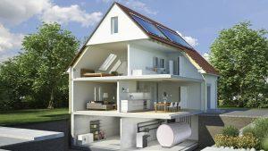 Auch große Warmwasserspeicher können in einem Einfamilienhaus installiert werden. Grafik: Paradigma.